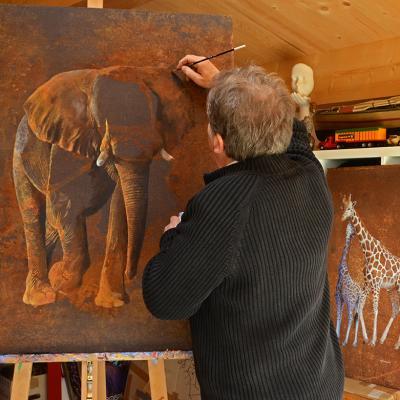 travail éléphant rouillé
